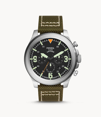 Fossil Men's Latitude Chronograph Olive Nylon Watch FS5750