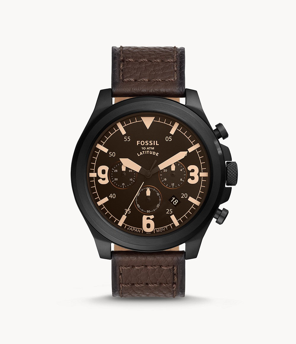 Fossil Men's Latitude Chronograph Brown Leather Watch FS5751