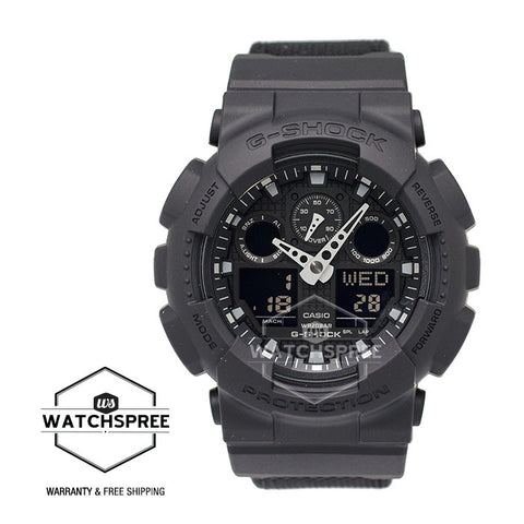 Casio G-Shock Special Color Models Black Cordura®* Nylon Strap Watch GA100BBN-1A
