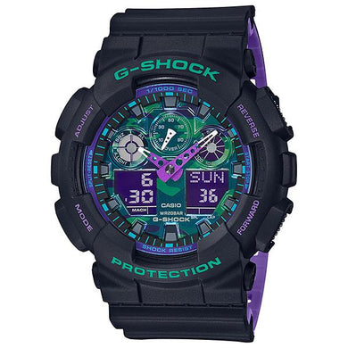Casio G-Shock GA-100 Lineup 90's Special Color Series Bi-Color Molded Resin Band Watch GA100BL-1A GA-100BL-1A