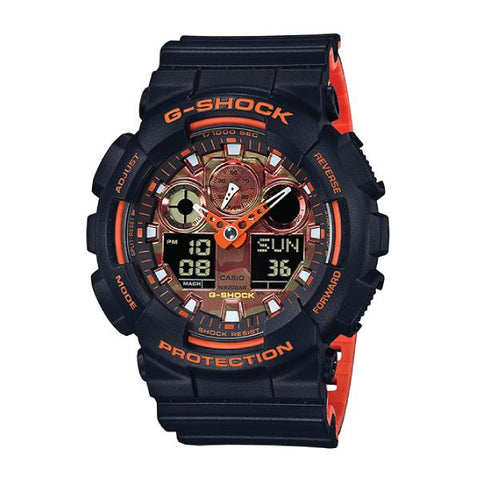 Casio G-Shock GA-100 Lineup Special Color Model Black Resin Band Watch GA100BR-1A GA-100BR-1A