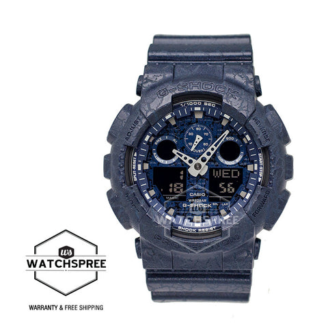 Casio G-Shock Standard Analog Digital Blue Cracked Pattern Watch GA100CG-2A