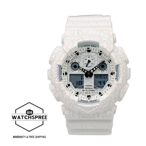 Casio G-Shock Standard Analog-Digital White Cracked Pattern Watch GA100CG-7A