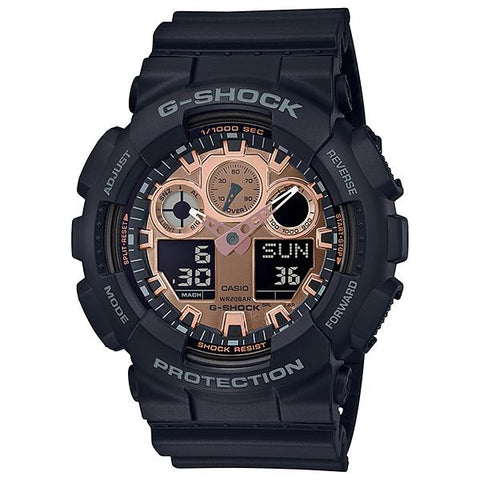Casio G-Shock Metallic Accent Color Rose Gold Series Matte Black Resin Band Watch GA100MMC-1A GA-100MMC-1A