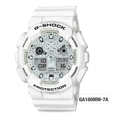 Casio G-Shock White Theme Special Color Model White Resin Band Watch GA100MW-7A GA-100MW-7A