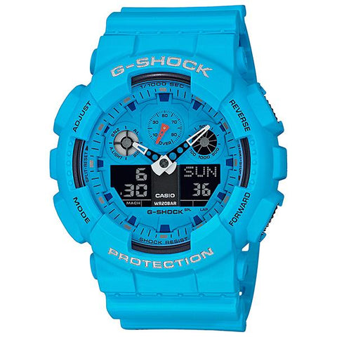 Casio G-Shock Hot Rock Sounds Special Color Model Blue Resin Band Watch GA100RS-2A GA-100RS-2A