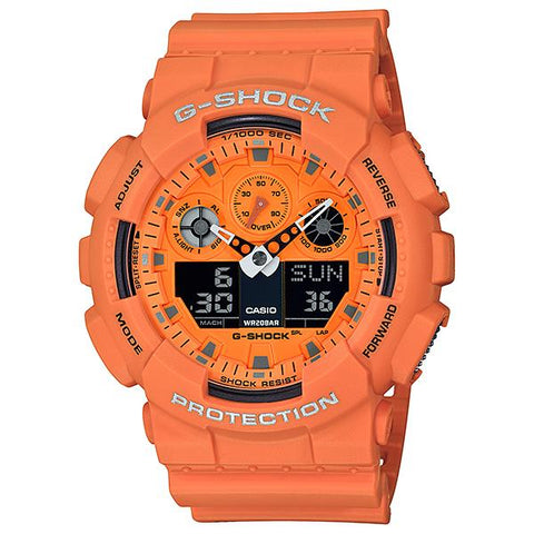 Casio G-Shock Hot Rock Sounds Special Color Model Orange Resin Band Watch GA100RS-4A GA-100RS-4A