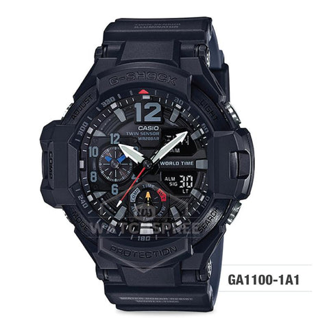 Casio G-Shock Master of G Gravitymaster Black Resin Band Watch GA1100-1A1 GA-1100-1A1