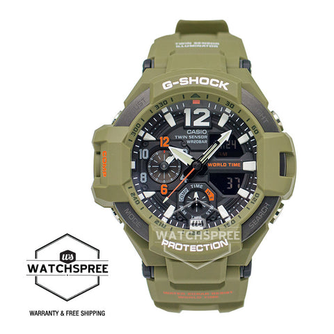 Casio G-Shock Master of G Gravitymaster Olive Drab Resin Strap Watch GA1100KH-3A