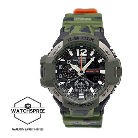 Casio G-Shock Master of G Gravitymaster Series Master in Olive Drab Camouflage Resin Band Watch GA1100SC-3A