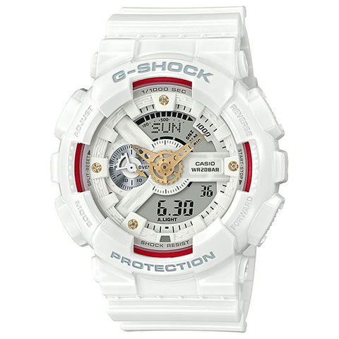 Casio G-Shock GA-110 Series Diamond Index White Resin Band Watch GA110DDR-7A GA-110DDR-7A