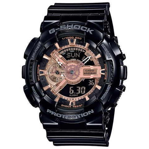 Casio G-Shock Metallic Accent Color Rose Gold Series Glossy Black Resin Band Watch GA110MMC-1A GA-110MMC-1A