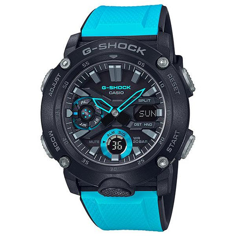 Casio G-Shock Carbon Core Guard Structure Blue Resin Band Watch GA2000-1A2 GA-2000-1A2