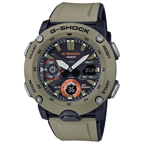 Casio G-Shock Carbon Core Guard Structure Brown Resin Band Watch GA2000-5A GA-2000-5A