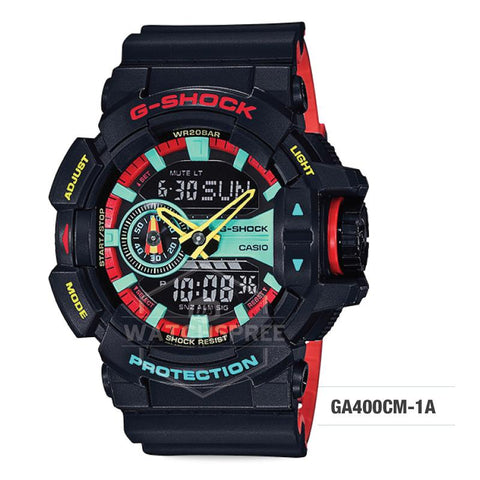 Casio G-Shock Breezy Rasta Color Black Resin Band Watch GA400CM-1A GA-400CM-1A