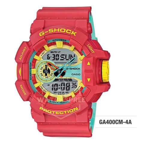 Casio G-Shock Breezy Rasta Color Red Orange Resin Band Watch GA400CM-4A GA-400CM-4A