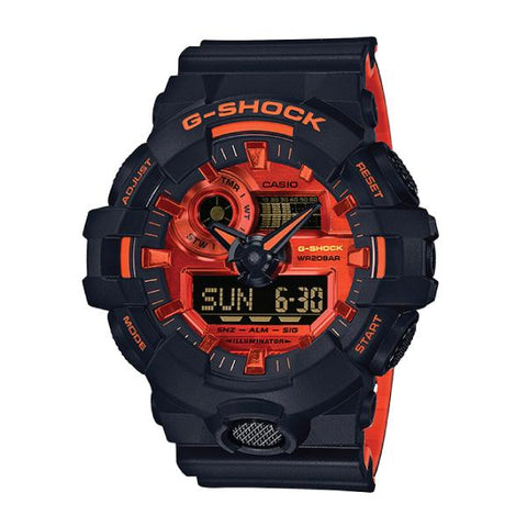 Casio G-Shock GA-700 Lineup Special Color Model Black Resin Band Watch GA700BR-1A GA-700BR-1A