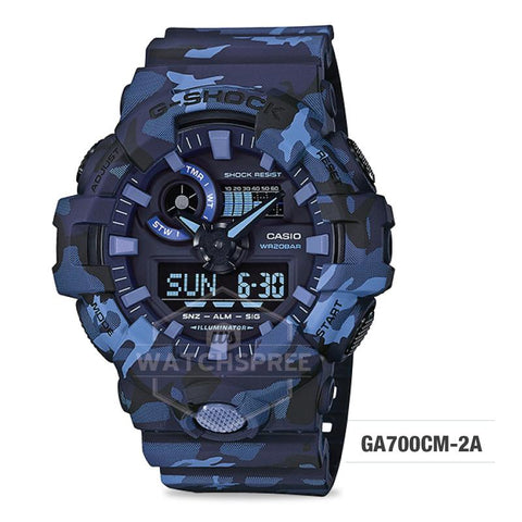 Casio G-Shock Special Color Model Navy Blue Camouflage Resin Band Watch GA700CM-2A GA-700CM-2A