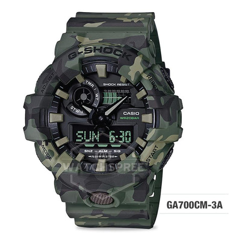 Casio G-Shock Special Color Model Khaki Camouflage Resin Band Watch GA700CM-3A GA-700CM-3A