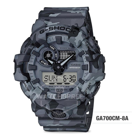 Casio G-Shock Special Color Model Grey Camouflage Resin Band Watch GA700CM-8A GA-700CM-8A