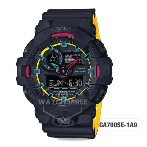 Casio G-Shock Special Color Model Layered Neon Color Black Resin Strap Watch GA700SE-1A9