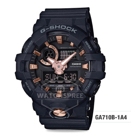 Casio G-Shock Standard Analog-Digital Black Resin Band Watch GA710B-1A4 GA-710B-1A4