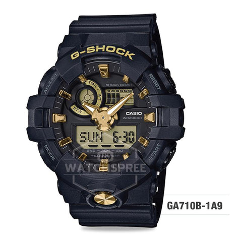 Casio G-Shock Standard Analog-Digital Black Resin Band Watch GA710B-1A9 GA-710B-1A9