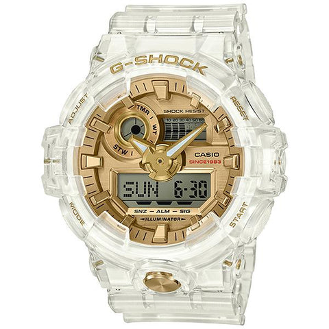 Casio G-Shock 35th Anniversary Glacier Gold Series Clear Semi-Transparent Resin Band Watch GA735E-7A GA-735E-7A