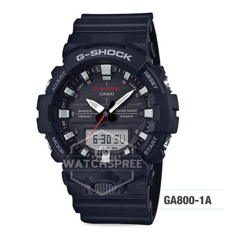 Casio G-Shock GA-800 Analog-Digital Black Resin Strap Watch GA800-1A