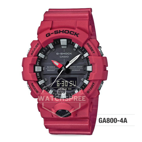 Casio G-Shock GA-800 Analog-Digital Red Resin Strap Watch GA800-4A