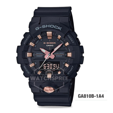 Casio G-Shock Standard Analog-Digital Black Resin Band Watch GA810B-1A4 GA-810B-1A4
