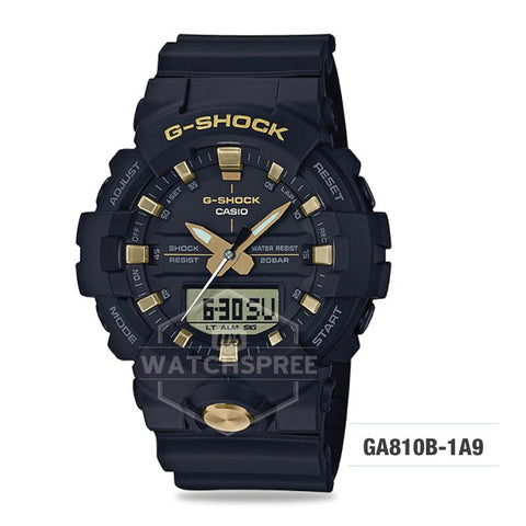 Casio G-Shock Standard Analog-Digital Black Resin Band Watch GA810B-1A9 GA-810B-1A9