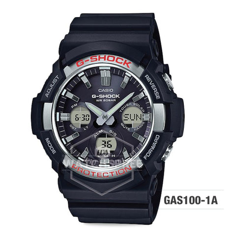 Casio G-Shock Big Case Tough Solar GAS-100 Black Resin Strap Watch GAS100-1A