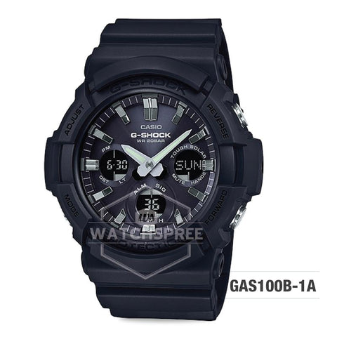 Casio G-Shock Big Case Tough Solar GAS-100 Black Resin Strap Watch GAS100B-1A GAS-100B-1A