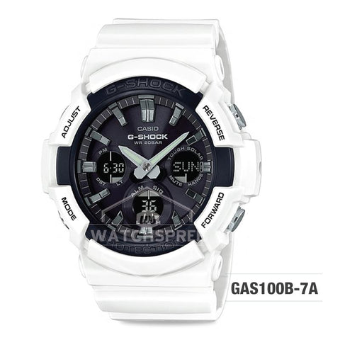 Casio G-Shock Big Case Tough Solar GAS-100 White Resin Strap Watch GAS100B-7A GAS-100B-7A