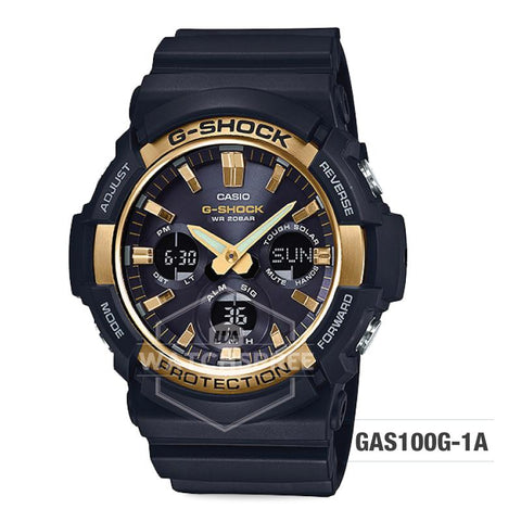 Casio G-Shock Big Case Tough Solar GAS-100 Black Resin Strap Watch GAS100G-1A