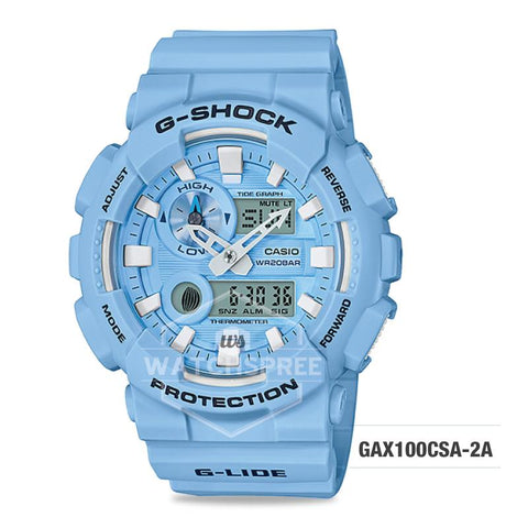 Casio G-Shock G-Lide 2018 Summer Version Pearl Blue Resin Band Watch GAX100CSA-2A GAX-100CSA-2A