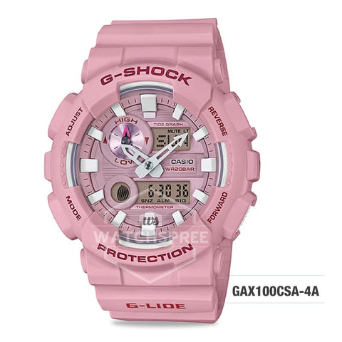 Casio G-Shock G-Lide 2018 Summer Version Light Pink Resin Band Watch GAX100CSA-4A GAX-100CSA-4A