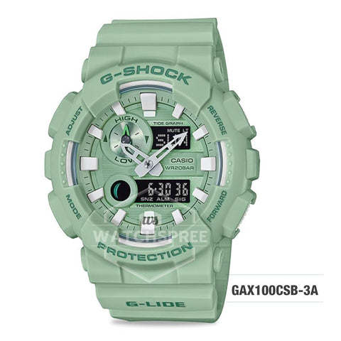 Casio G-Shock G-Lide 2018 Summer Version Light Green Resin Band Watch GAX100CSB-3A GAX-100CSB-3A