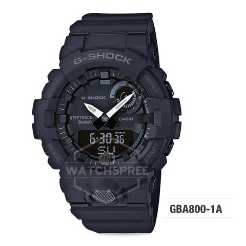 Casio G-Shock G-SQUAD Bluetooth® Urban Sports Themed Black Resin Band Watch GBA800-1A GBA-800-1A