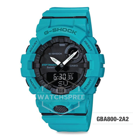 G-Shock G-SQUAD Bluetooth® Urban Sports Themed Turquoise Blue Resin Band Watch GBA800-2A2 GBA-800-2A2