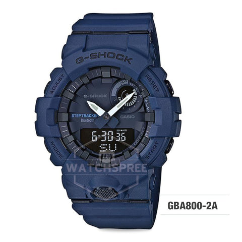 Casio G-Shock G-SQUAD Bluetooth® Urban Sports Themed Navy Blue Resin Band Watch GBA800-2A GBA-800-2A