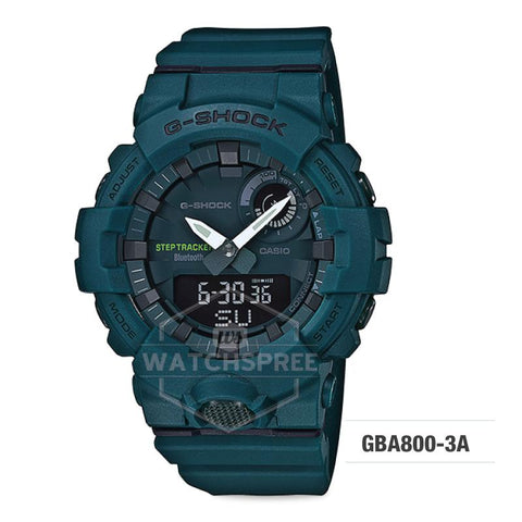 Casio G-Shock G-SQUAD Bluetooth® Urban Sports Themed Dark Green Resin Band Watch GBA800-3A GBA-800-3A