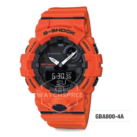 G-Shock G-SQUAD Bluetooth® Urban Sports Themed Orange Red Resin Band Watch GBA800-4A GBA-800-4A