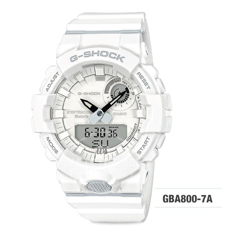 Casio G-Shock G-SQUAD Bluetooth® Urban Sports Themed White Resin Band Watch GBA800-7A GBA-800-7A