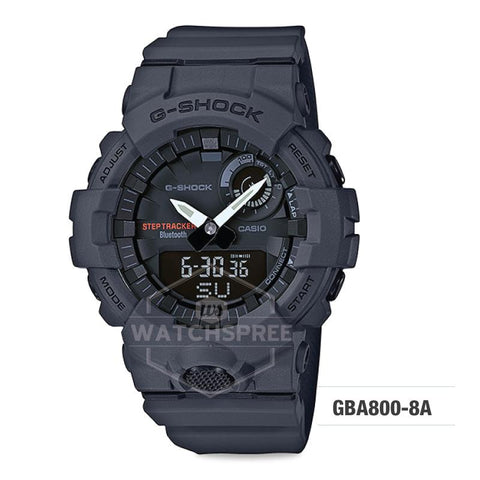 Casio G-Shock G-SQUAD Bluetooth® Urban Sports Themed Dark Grey Resin Band Watch GBA800-8A GBA-800-8A