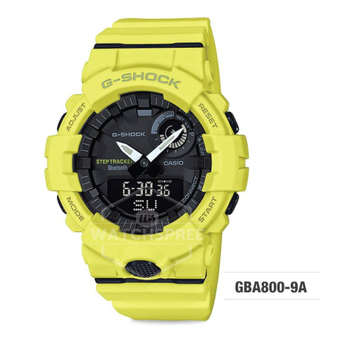 Casio G-Shock G-SQUAD Bluetooth® Urban Sports Themed Yellow Resin Band Watch GBA800-9A GBA-800-9A