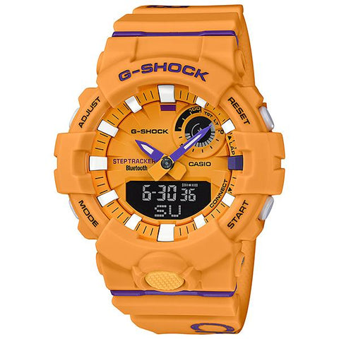 Casio G-Shock G-SQUAD Bluetooth® Dagger Basketball Themed Series Yellow Resin Band Watch GBA800DG-9A GBA-800DG-9A