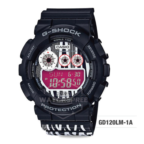 Casio G-Shock x Marok Limited Model Black and White Resin Band Watch GD120LM-1A GD-120LM-1A