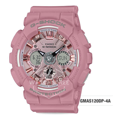 Casio G-Shock S Series Pastel-tone Matte Pink Resin Band Watch GMAS120DP-4A GMA-S120DP-4A